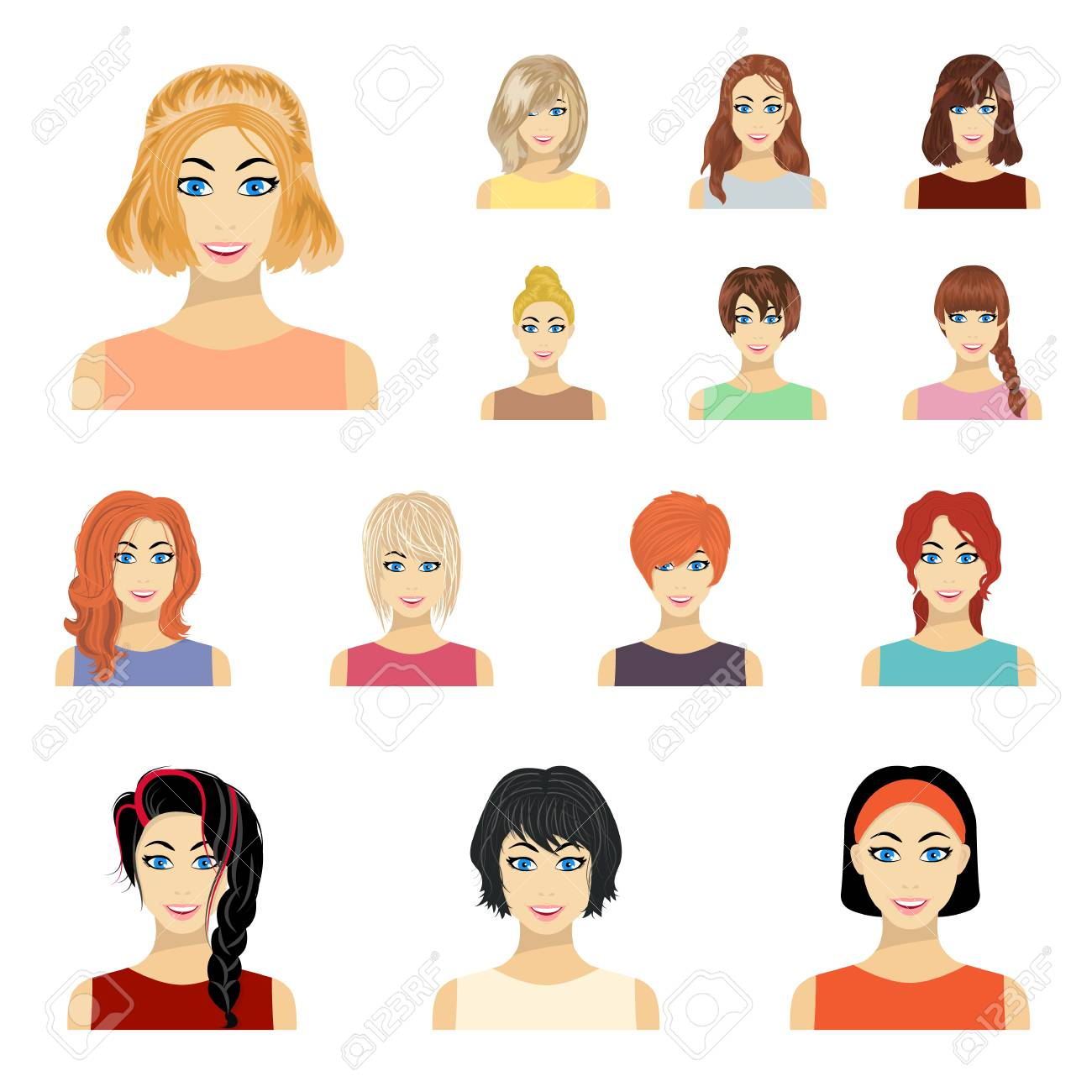 Types Of Female Hairstyles Cartoon Icons In Set Collection For