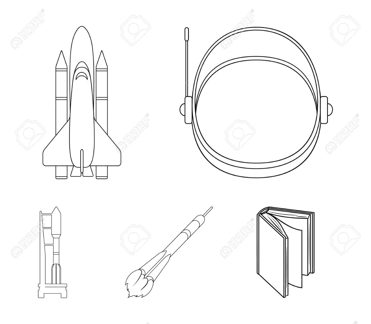 94810111 a spaceship in space a cargo shuttle a launch pad an astronaut s helmet space technology set collect a spaceship in space, a cargo shuttle, a launch pad, an astronaut's