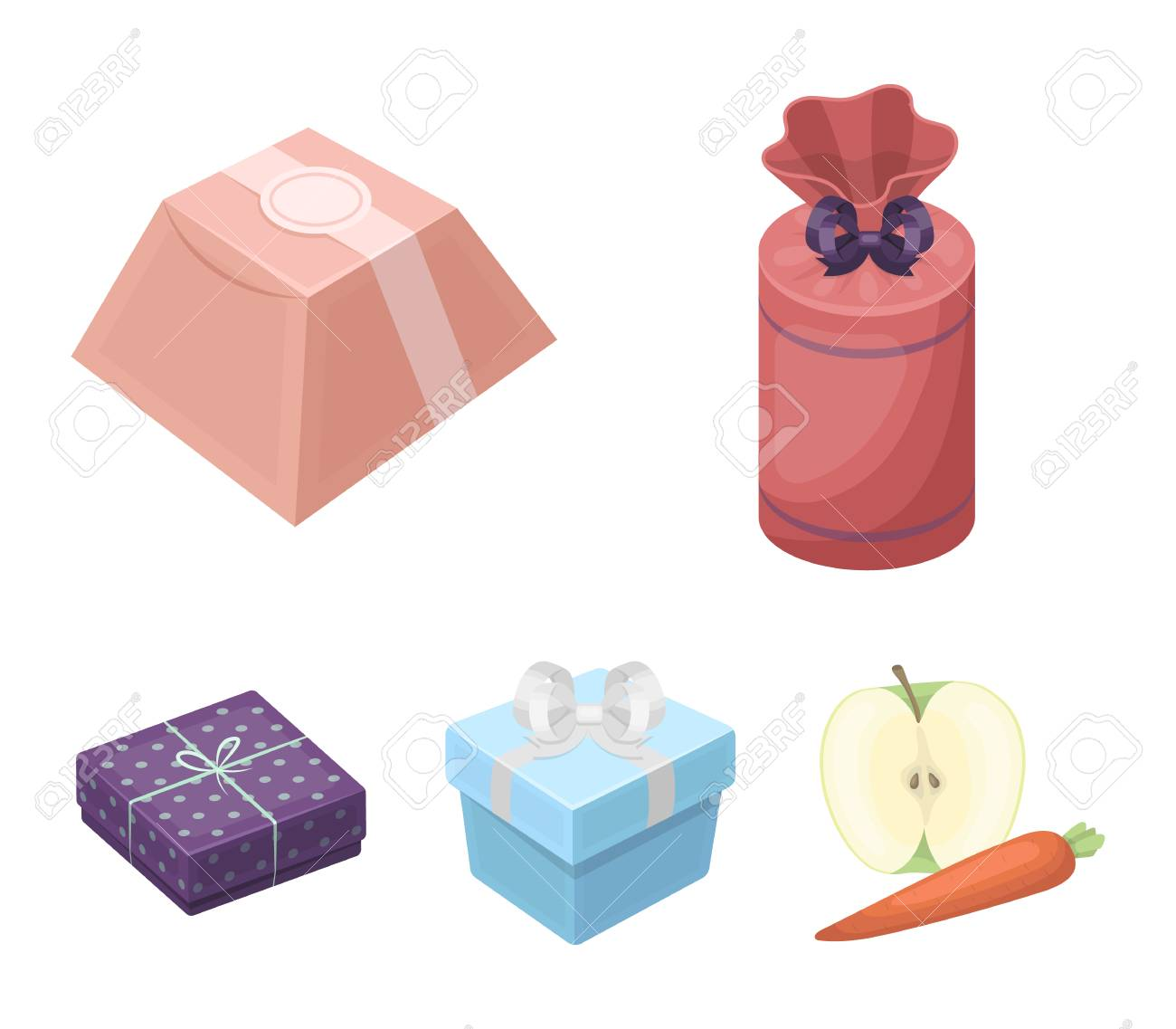 Gift box with bow gift bag.Gifts and certificates set collection icons in cartoon  sc 1 st  123RF.com & Gift Box With Bow Gift Bag.Gifts And Certificates Set Collection ...