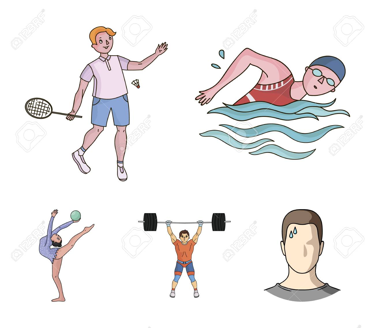 Swimming Badminton Weightlifting Artistic Gymnastics Sport Royalty Free Cliparts Vectors And Stock Illustration Image 95526927