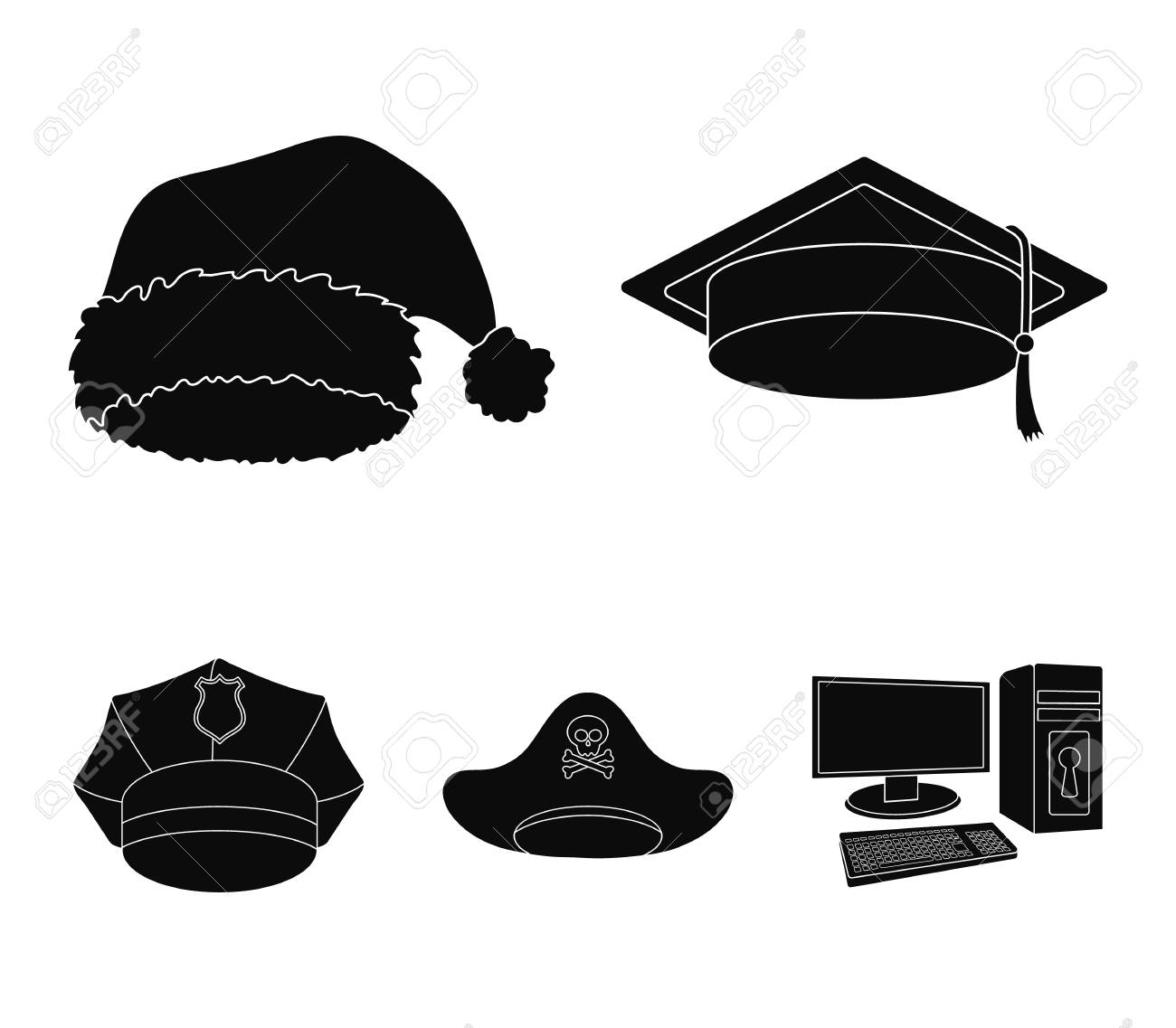d6b1f93a277 Graduate, santa, police, pirate. Hats set collection icons in..