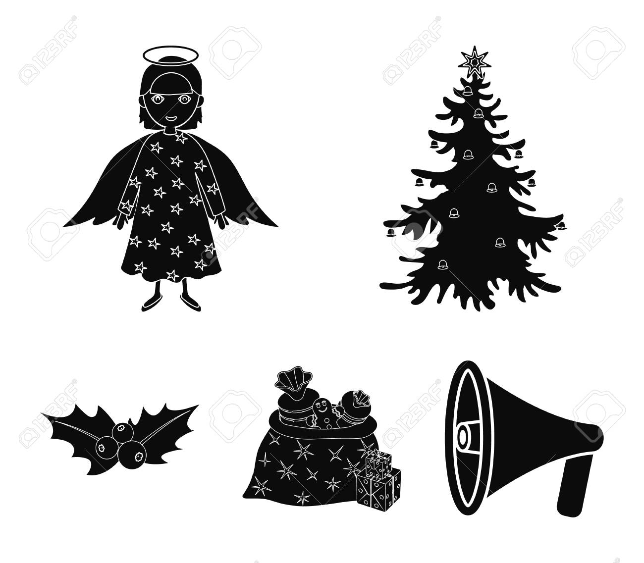 Christmas Tree Angel On Dress With Star Printed Gifts And Holly