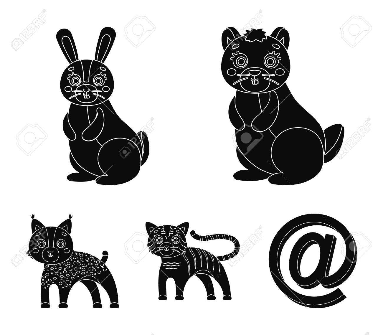 Domestic and wild animals set collection icons in black style