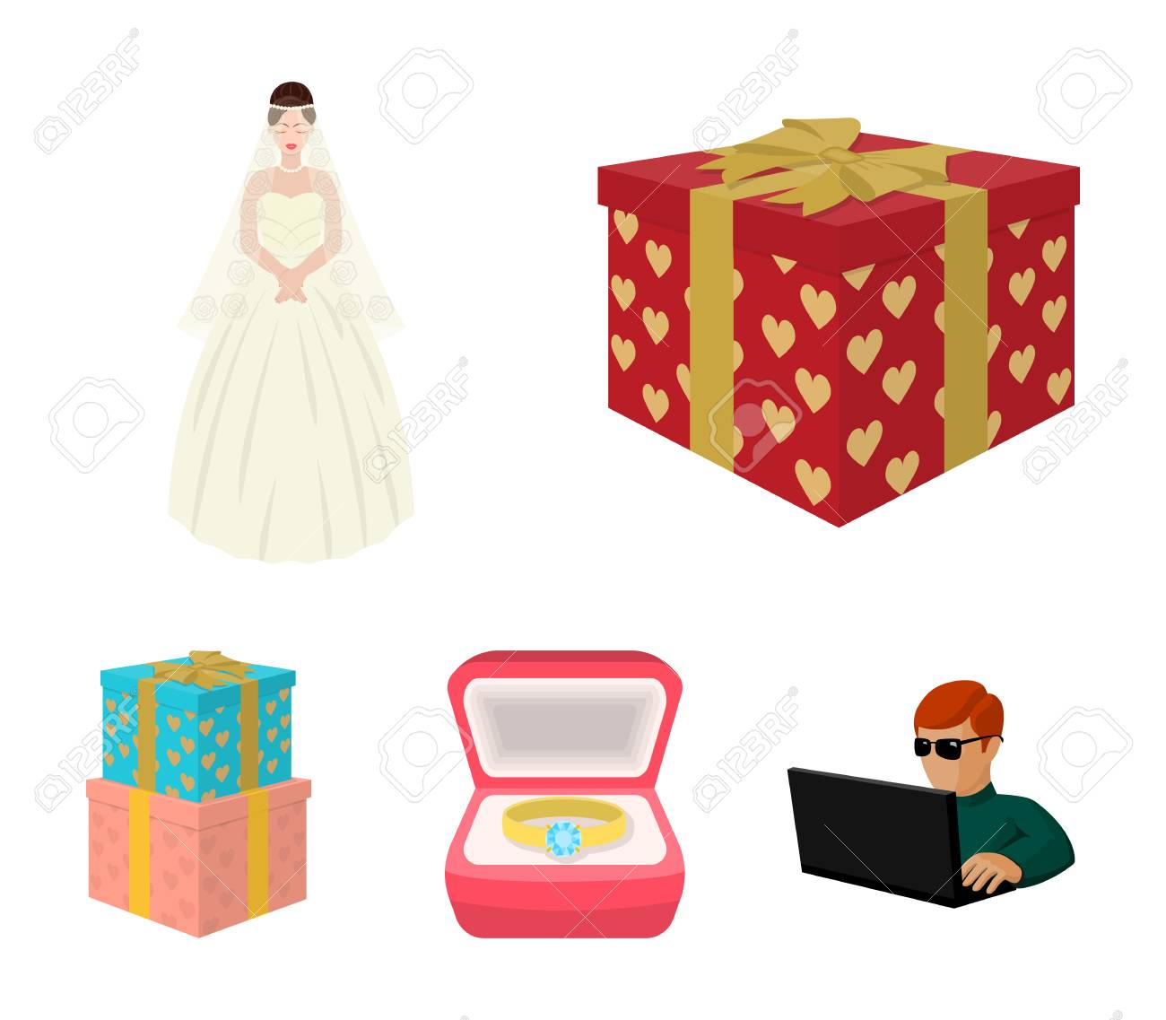 Wedding Set Collection Icons In Cartoon Style With Wedding Gifts