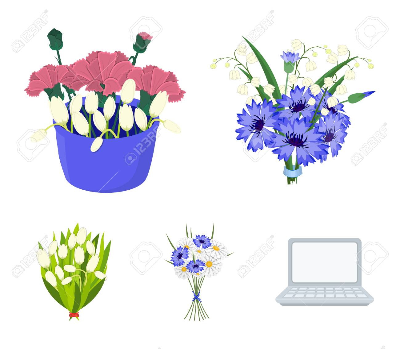 A Bouquet Of Fresh Flowers Cartoon Icons In Set Collection For ...