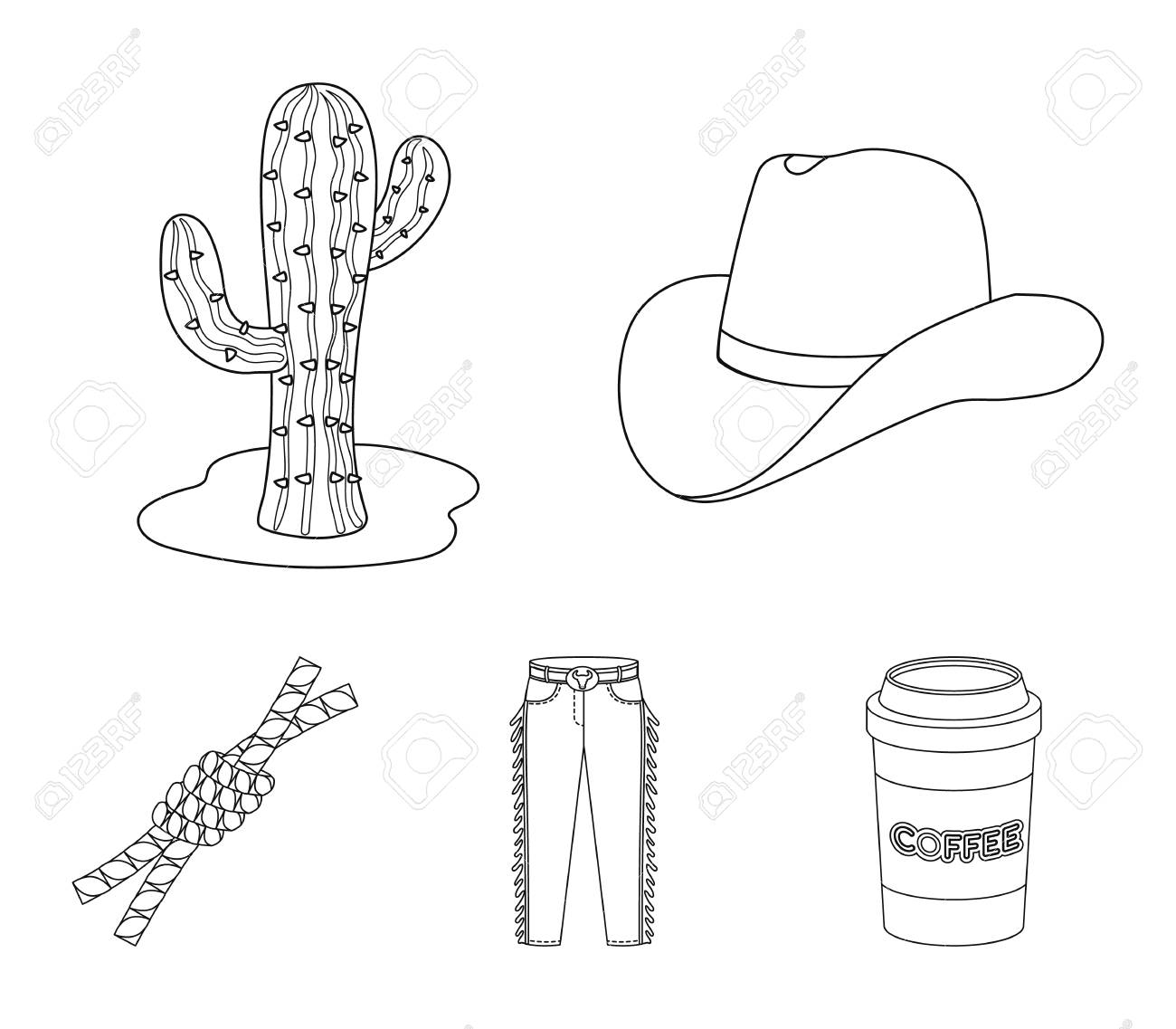 Hat Cactus Jeans Knot On The Lasso Rodeo Set Collection Icons