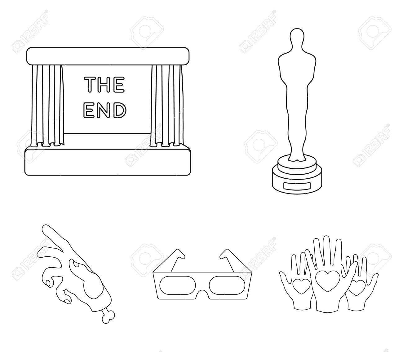 award oscar, movie screen, 3d glasses  films and film set collection icons  in