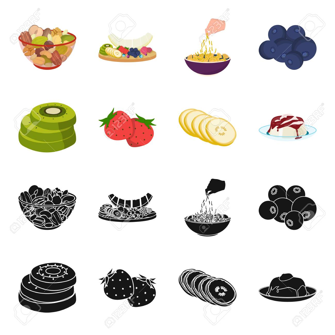Fruits Et Autres Aliments Jeu De Nourriture Icônes Collection Dans Le Style De Dessin Animé De Vecteur De Pixel Illustration De Stock