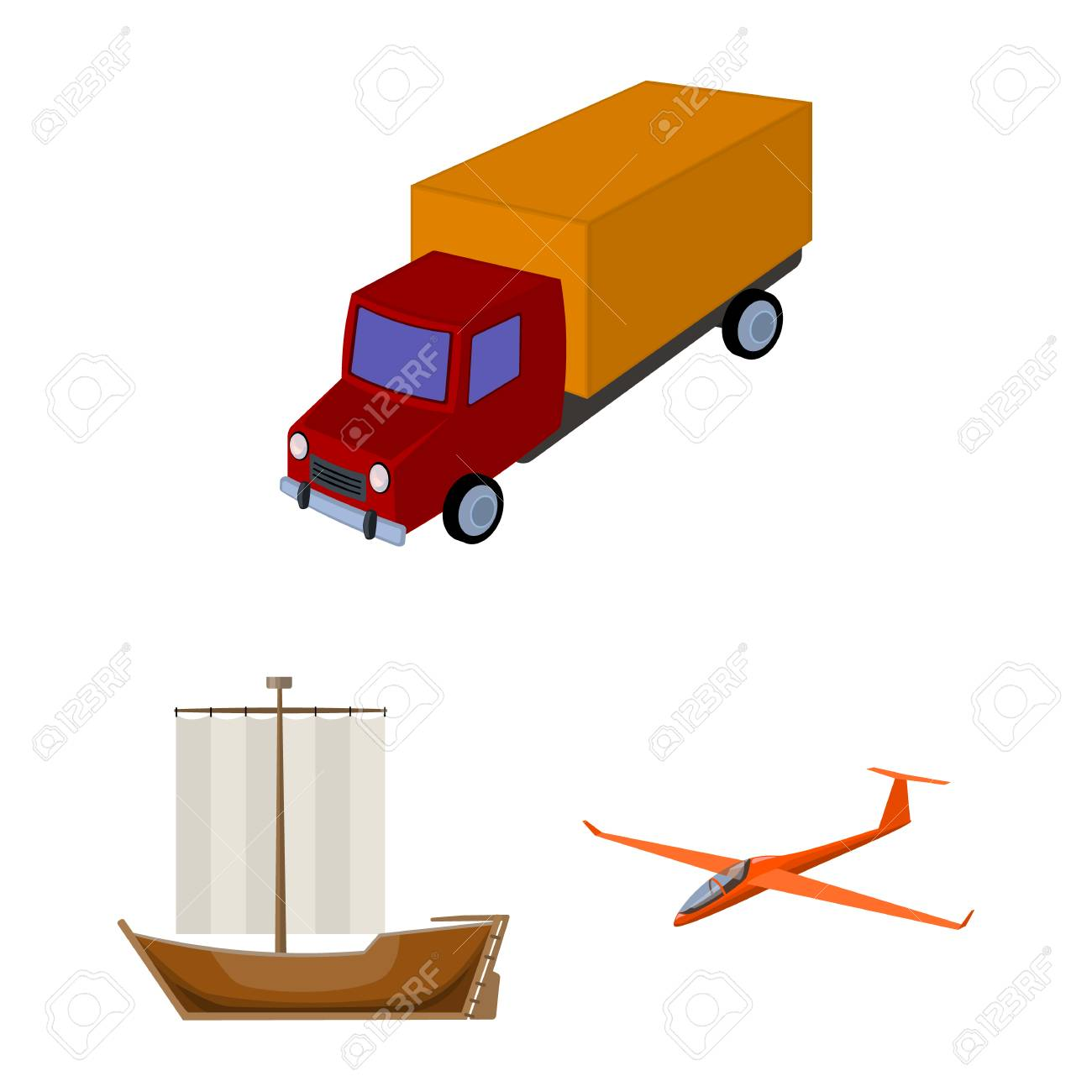 Different types of transport cartoon icons in set collection for design. Car and ship vector symbol stock web illustration. - 101816223