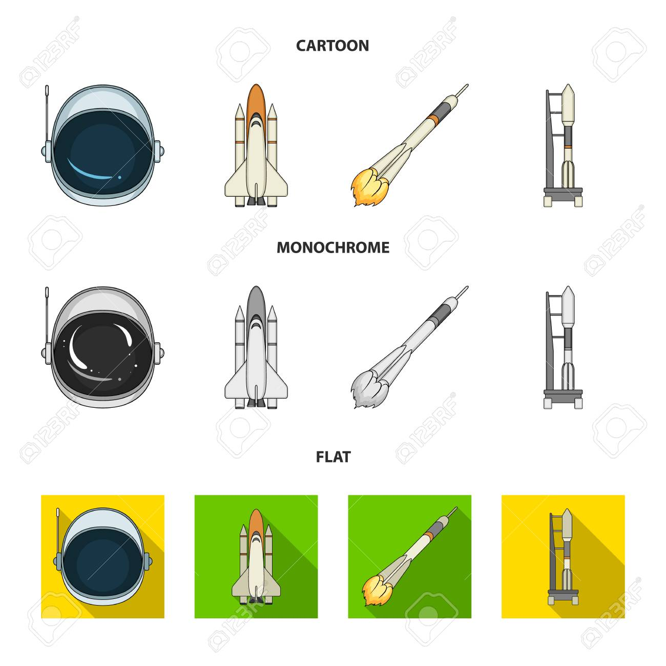 98628076 a spaceship in space a cargo shuttle a launch pad an astronaut helmet space technology set collectio a spaceship in space, a cargo shuttle, a launch pad, an astronaut