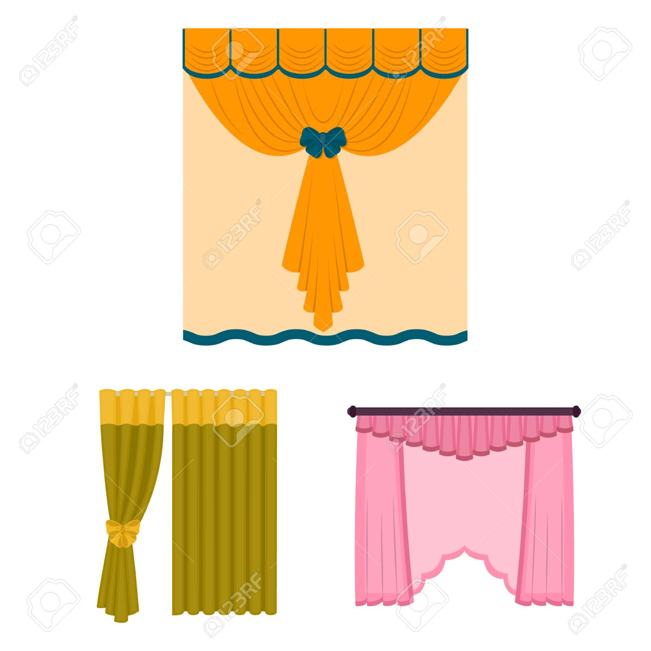 Different Kinds Of Curtains Cartoon Icons In Set Collection For Design And Lambrequins Vector