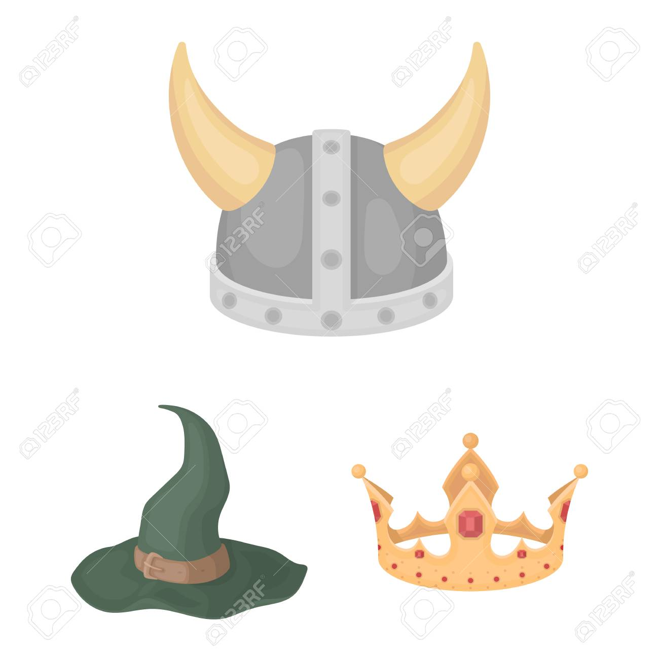 Different kinds of hats cartoon icons in set collection for design. Headdress  vector symbol stock 9c4ee03cae64