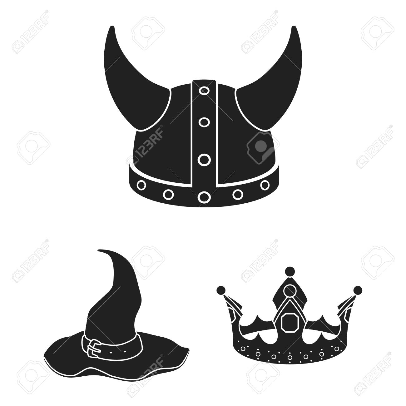 Different Kinds Of Hats Black Icons In Set Collection For Design
