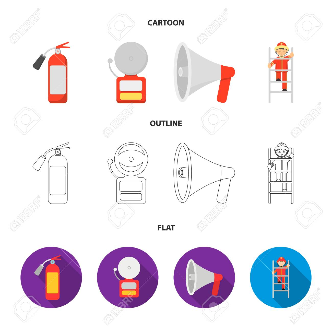 Fire extinguisher, alarm, megaphone, fireman on the stairs  Fire