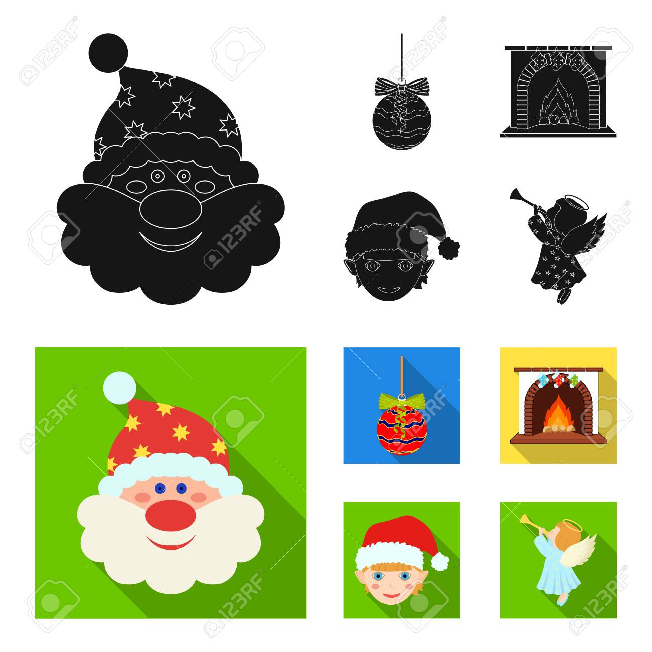 santa claus dwarf fireplace and decoration black and colored flat icons in set