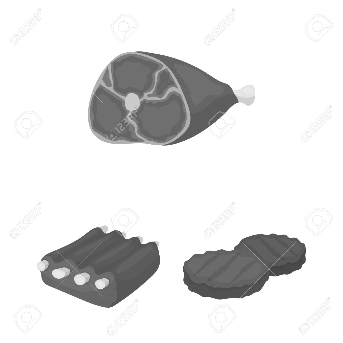 Different meat monochrome icons in set collection for design. Meat product vector symbol stock web illustration. - 99617204