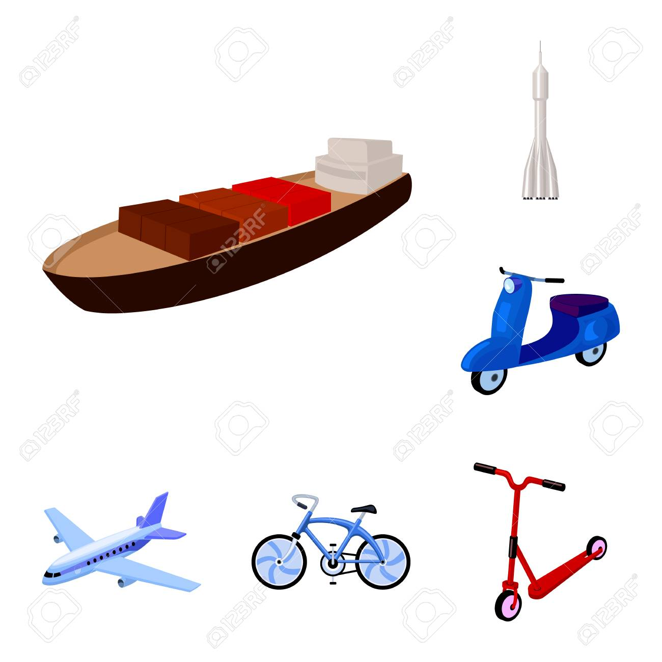 Different types of transport cartoon icons in set collection for design. Car and ship vector symbol stock illustration. - 99604297
