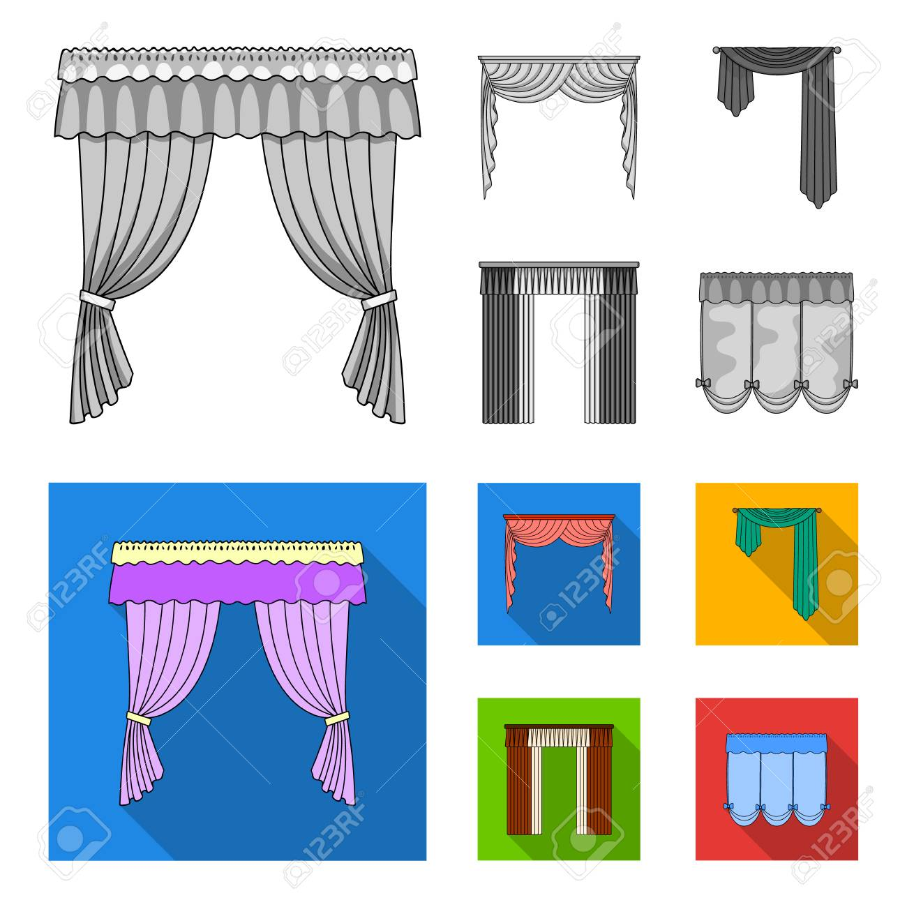 different types of curtains for windows treatments different types of window curtains curtains set collection icons in monochrome flat style vector types of window curtains set collection icons