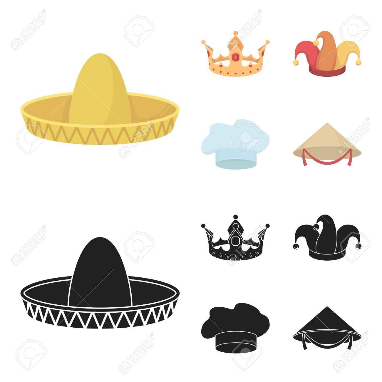 Crown Jester Cap Cook Cone Hats Set Collection Icons In Cartoon Black Royalty Free Cliparts Vectors And Stock Illustration Image 100229908 I love anime, cartoons, comics, and despite being an introvert love meeting new people. 123rf com