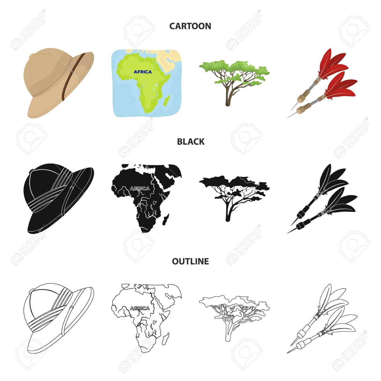 Hat Darts Tree And Africa Map Icons In Cartoon Black And Outline Royalty Free Cliparts Vectors And Stock Illustration Image 100331399 Well you're in luck, because here they come. 123rf com