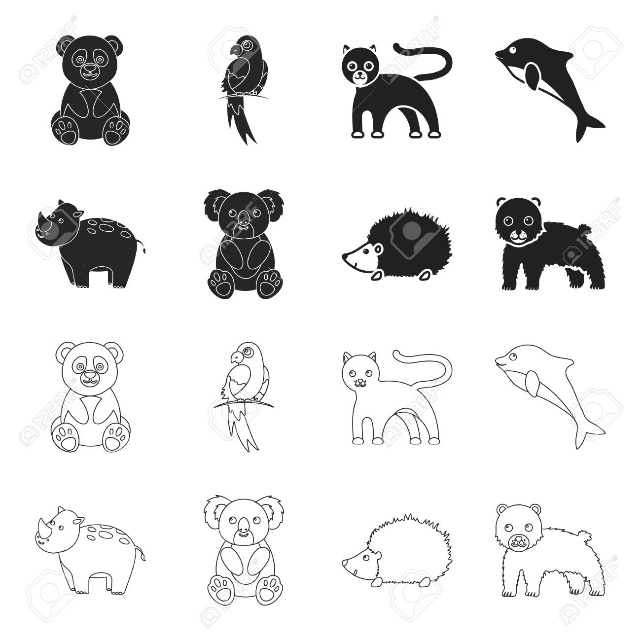 Rhino Koala Panther Hedgehogimal Set Collection Icons In