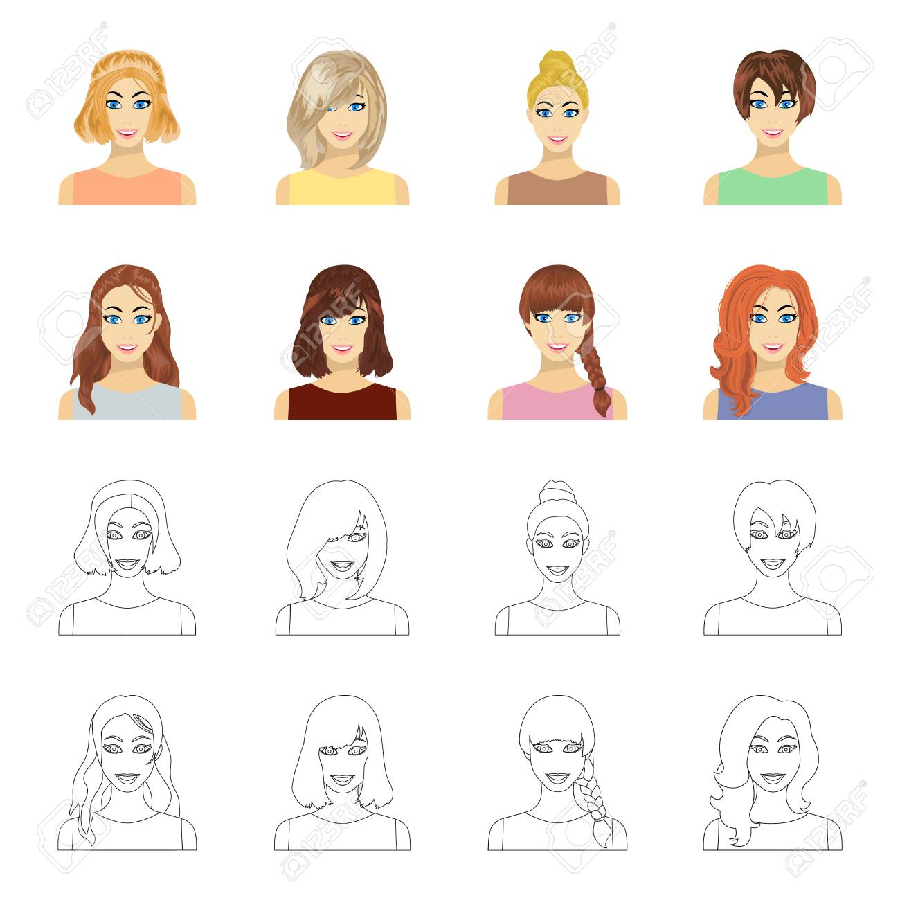Types Of Female Hairstyles Cartoonoutline Icons In Set Collection