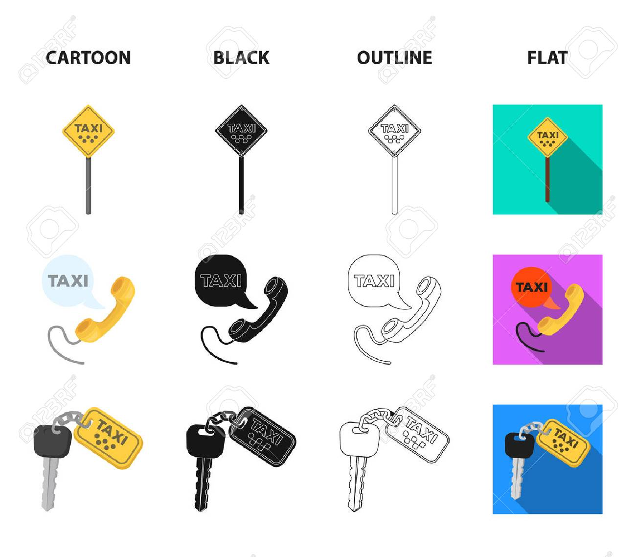 Handset with the inscription of a taxi, car keys with a key fob, a stopwatch with a fare, a purse with money, dollars. Taxi set collection icons in cartoon,black,outline,flat style vector symbol stock illustration web. - 101990380