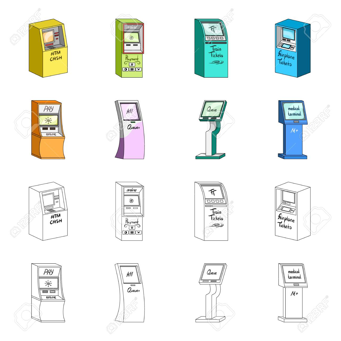 Medical terminal, ATM for payment,apparatus for queue. Terminals set collection icons in cartoon,outline style isometric vector symbol stock illustration web . - 102966307