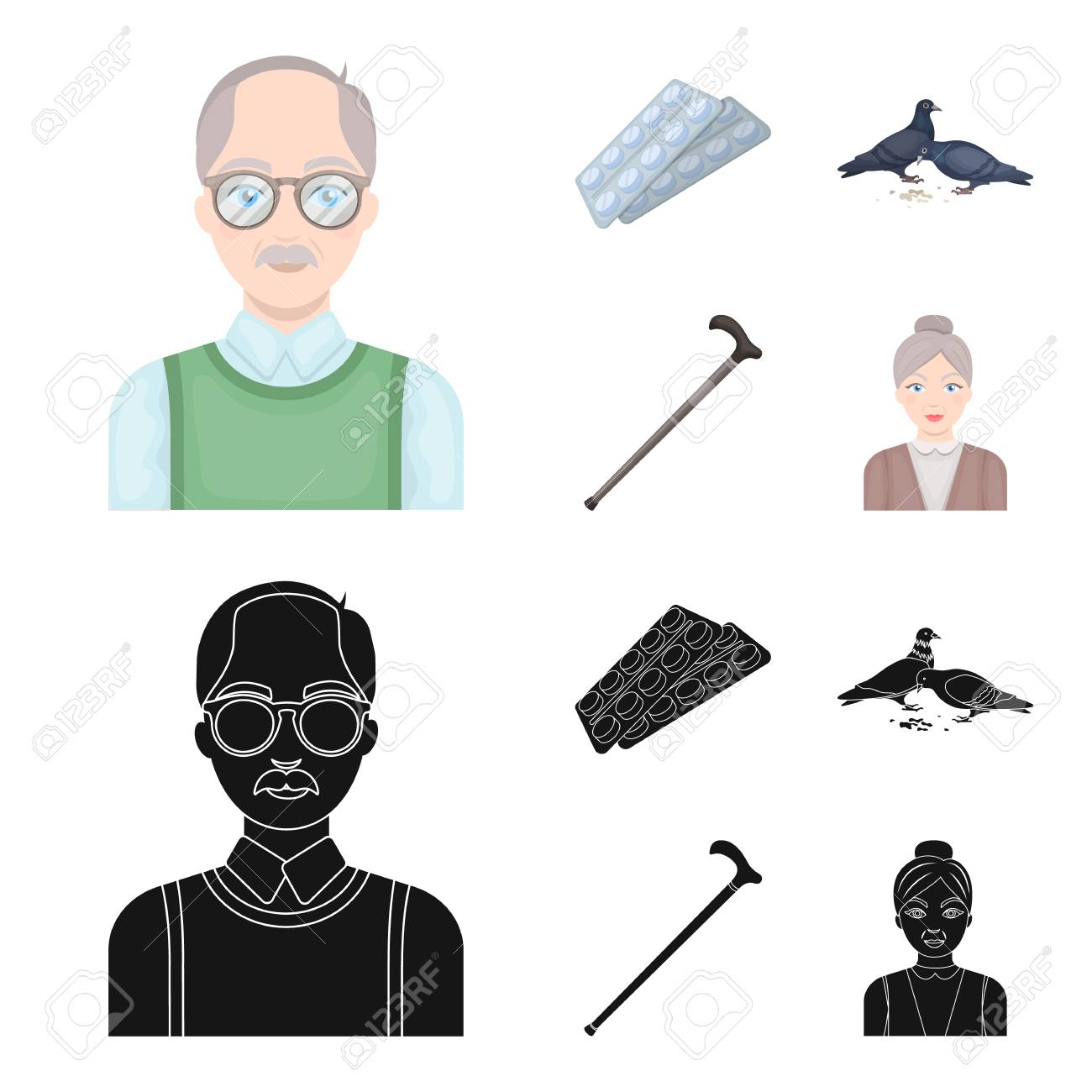 Elderly men, tablets, pigeons, walking cane.Old age set collection icons in cartoon,black style vector symbol stock illustration web. - 104518673
