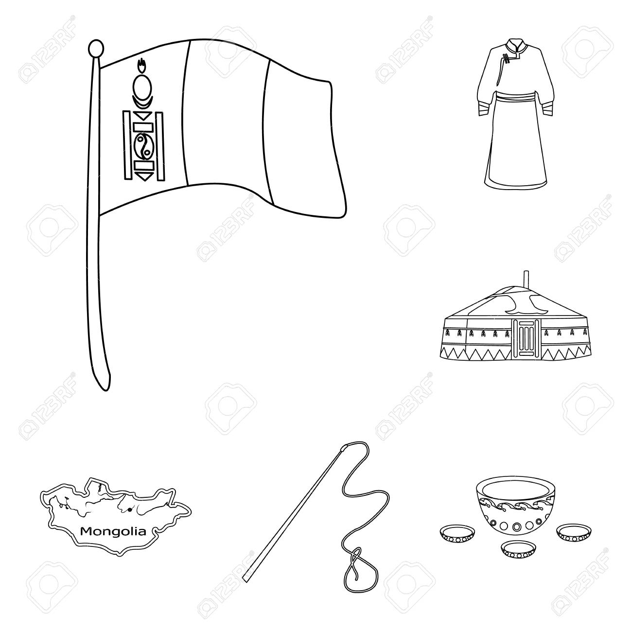country mongolia outline icons in set collection for design Mongolia Art country mongolia outline icons in set collection for design territory and landmark vector symbol stock