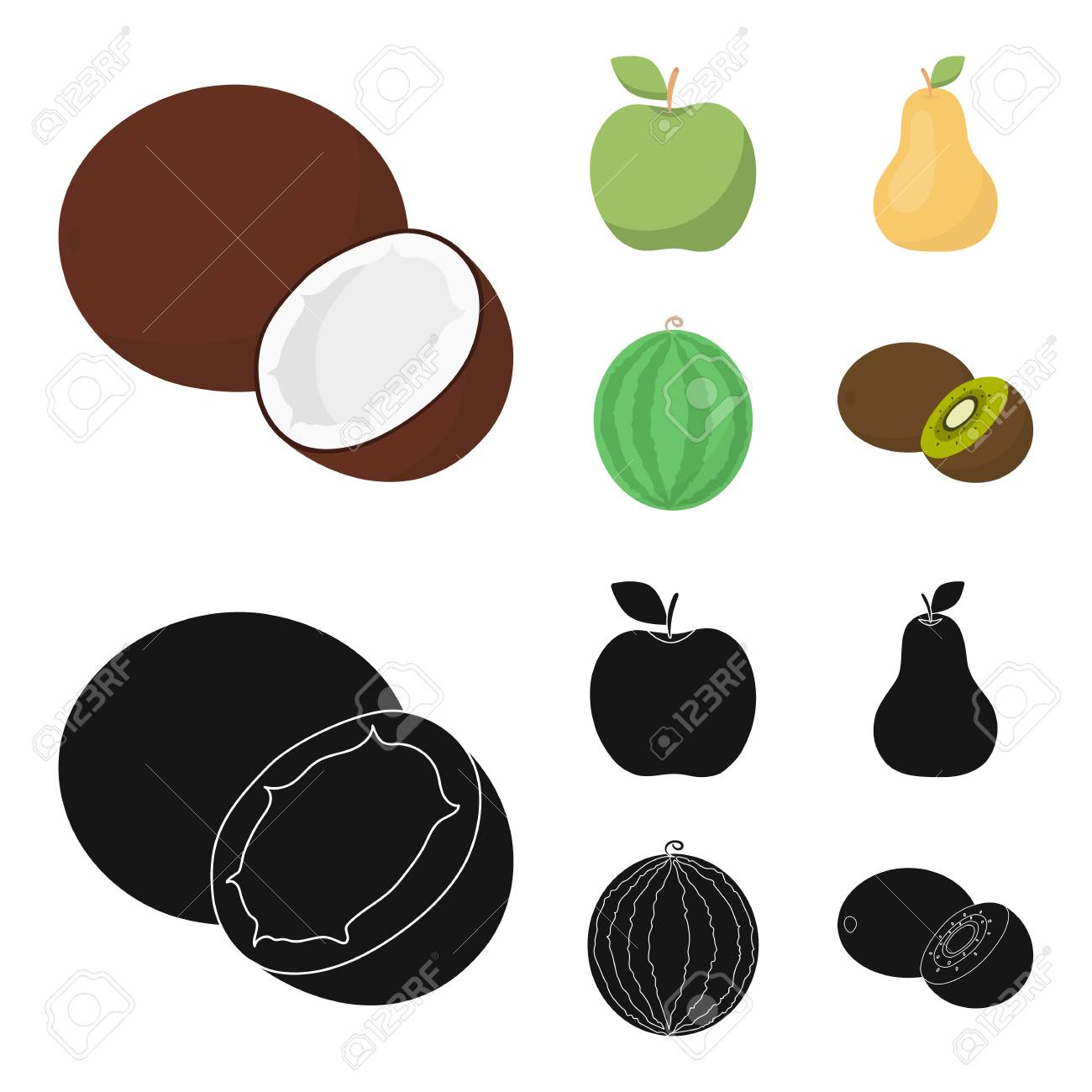 Coconut Apple Pear Watermelonuits Set Collection Icons Stock