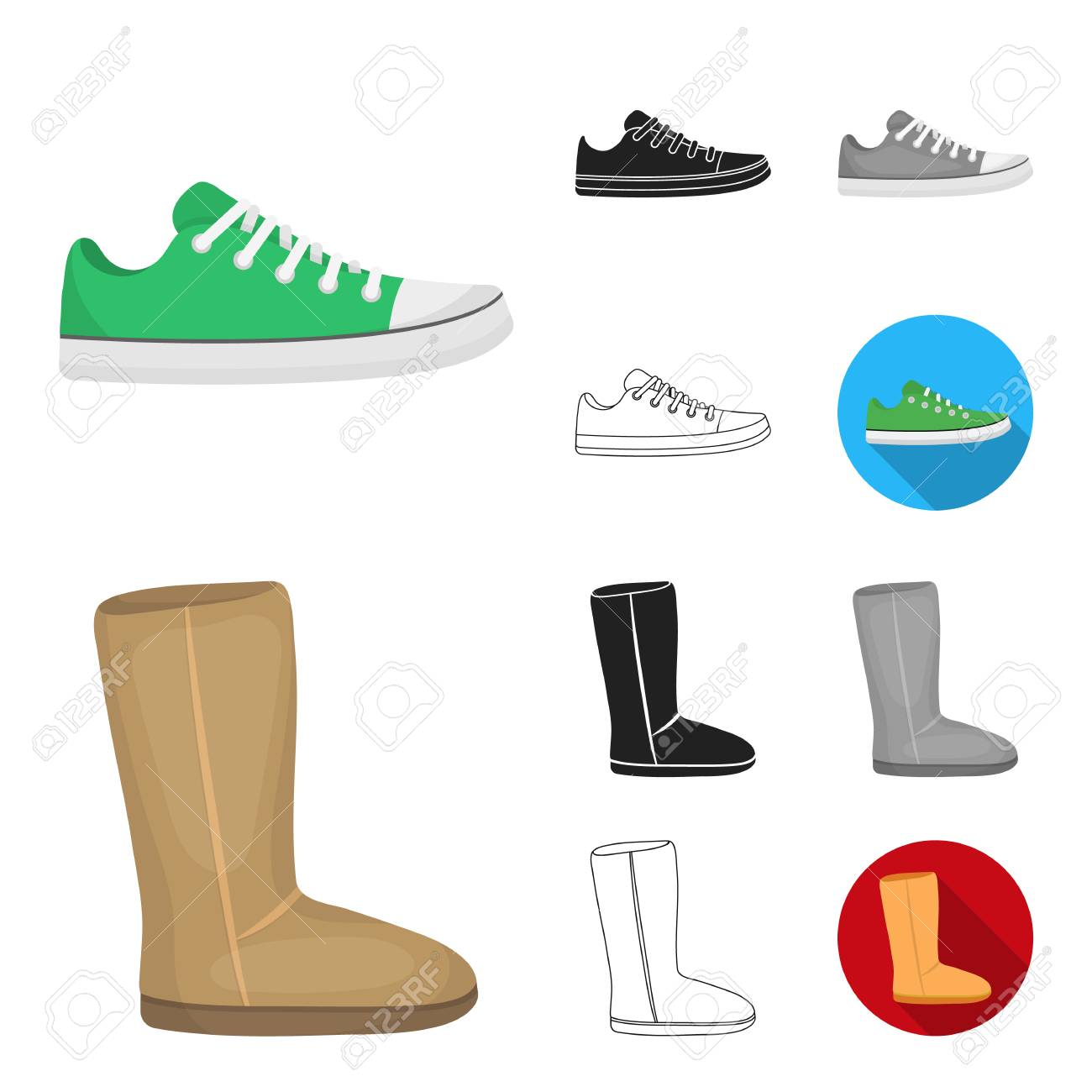 2adcbbebe5a5 A variety of shoes cartoon,black,flat,monochrome,outline icons in set