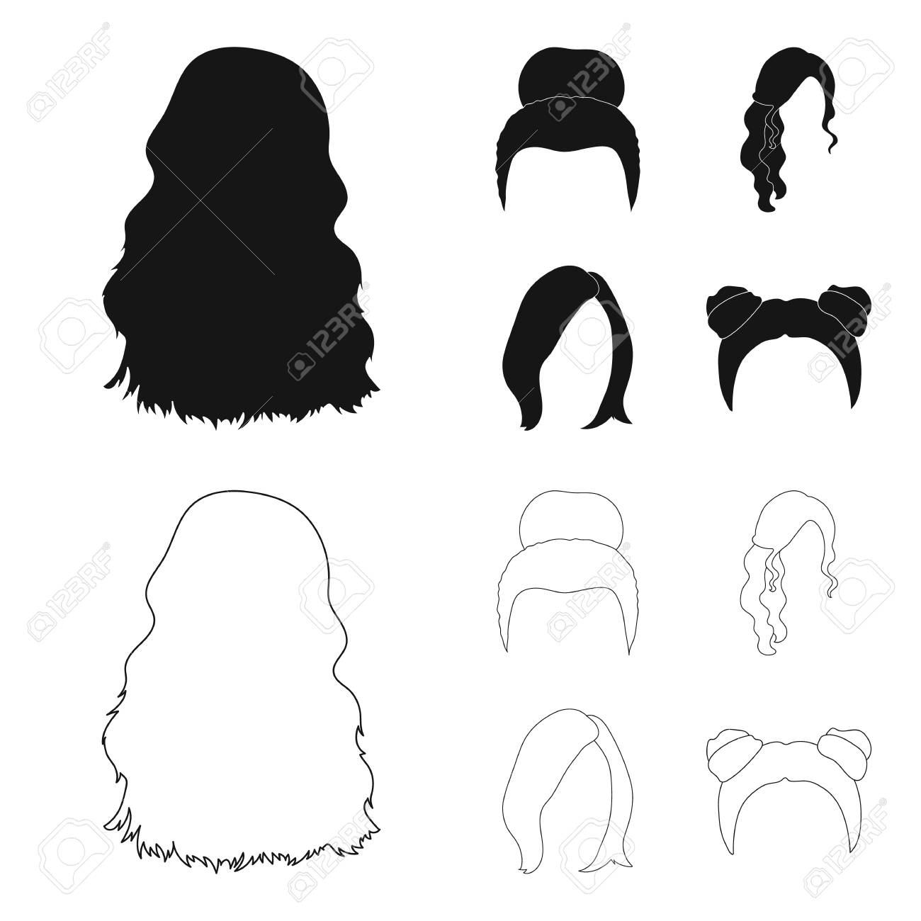 Blond with a bunch, red wavy and other types of hair. Back hair set collection icons in black,outline style vector symbol stock illustration web. - 105480777