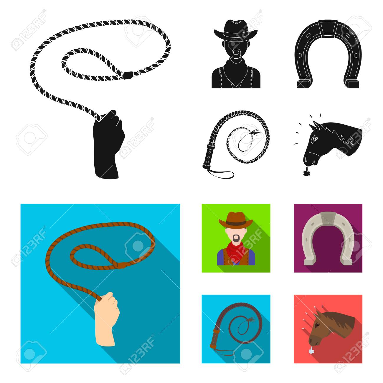 Hand lasso, cowboy, horseshoe, whip. Rodeo set collection icons in black, flat style vector symbol stock illustration . - 105620939