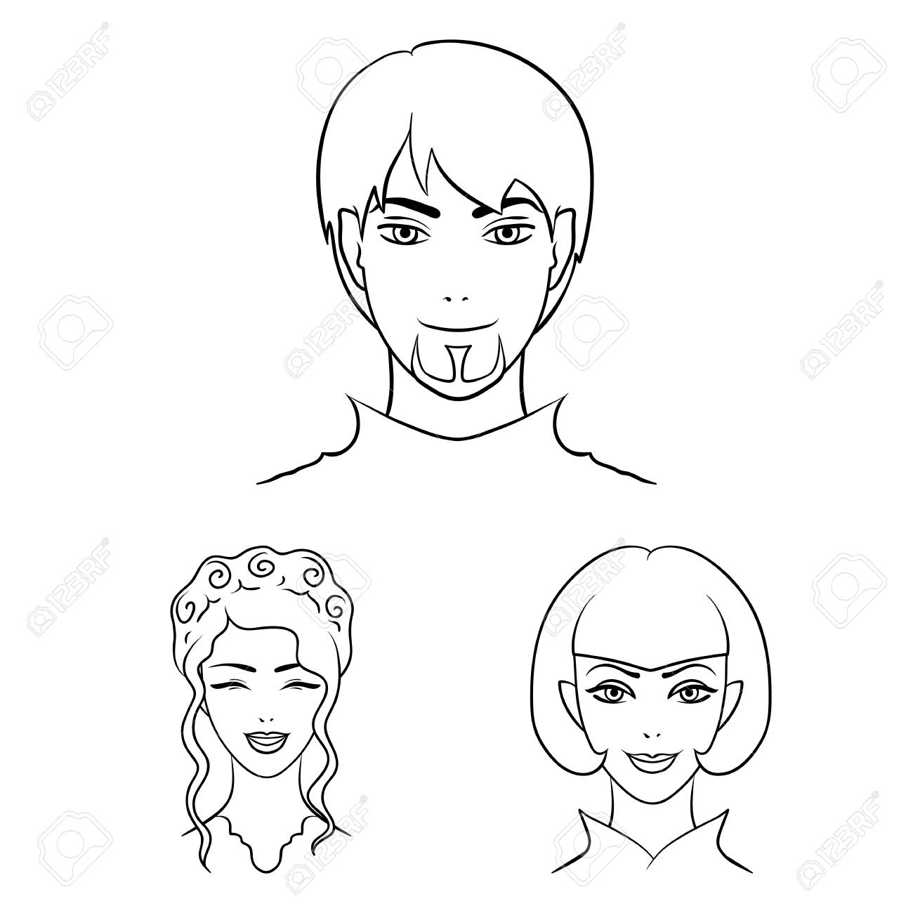 Avatar and face outline icons in set collection for design. A person appearance bitmap symbol stock web illustration. - 106051863
