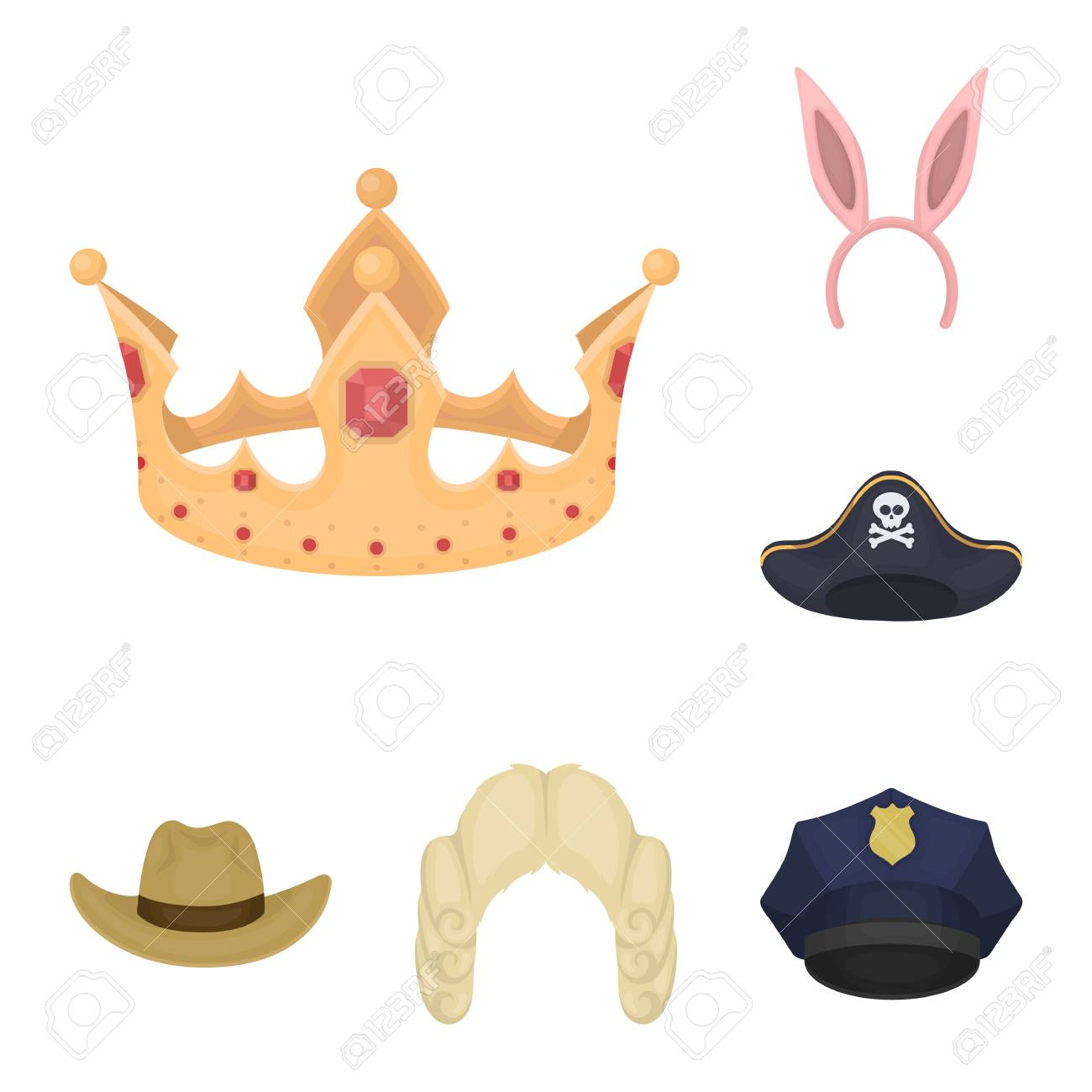 c3d5069d735ff Different kinds of hats cartoon icons in set collection for design.Headdress  bitmap symbol stock