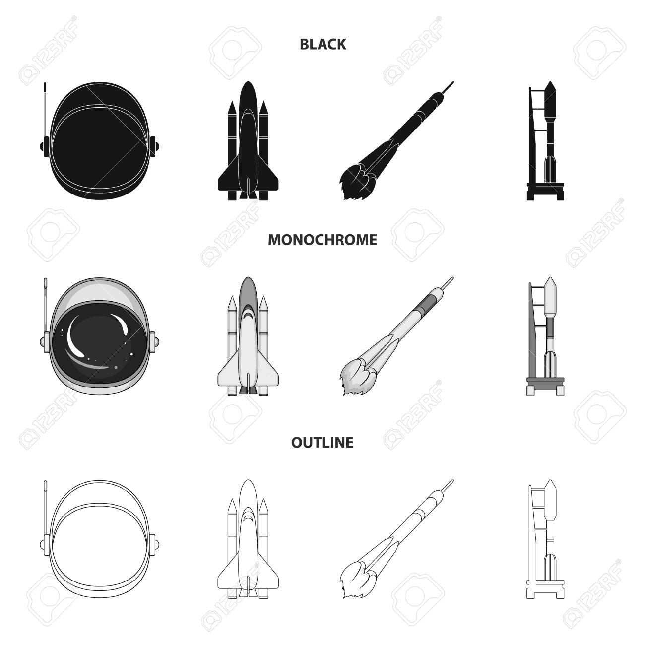 106513818 a spaceship in space a cargo shuttle a launch pad an astronaut helmet space technology set collectio a spaceship in space, a cargo shuttle, a launch pad, an astronaut