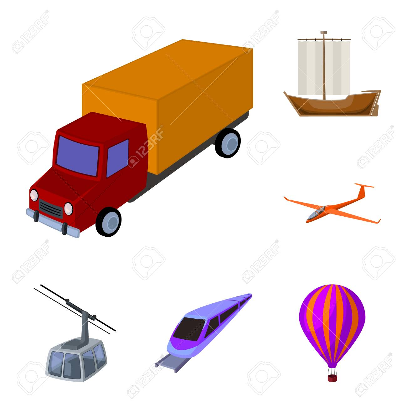 Different types of transport cartoon icons in set collection for design. Car and ship vector symbol stock web illustration. - 106562381