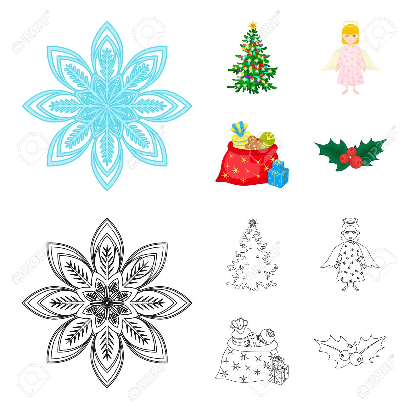 Christmas Tree Angel Gifts And Holly Cartoon Outline Icons