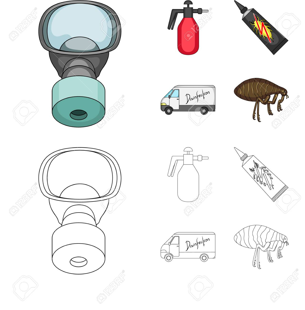 Flea, special car and equipment cartoon,outline icons in set collection for design. Pest Control Service vector symbol stock web illustration. - 106562877