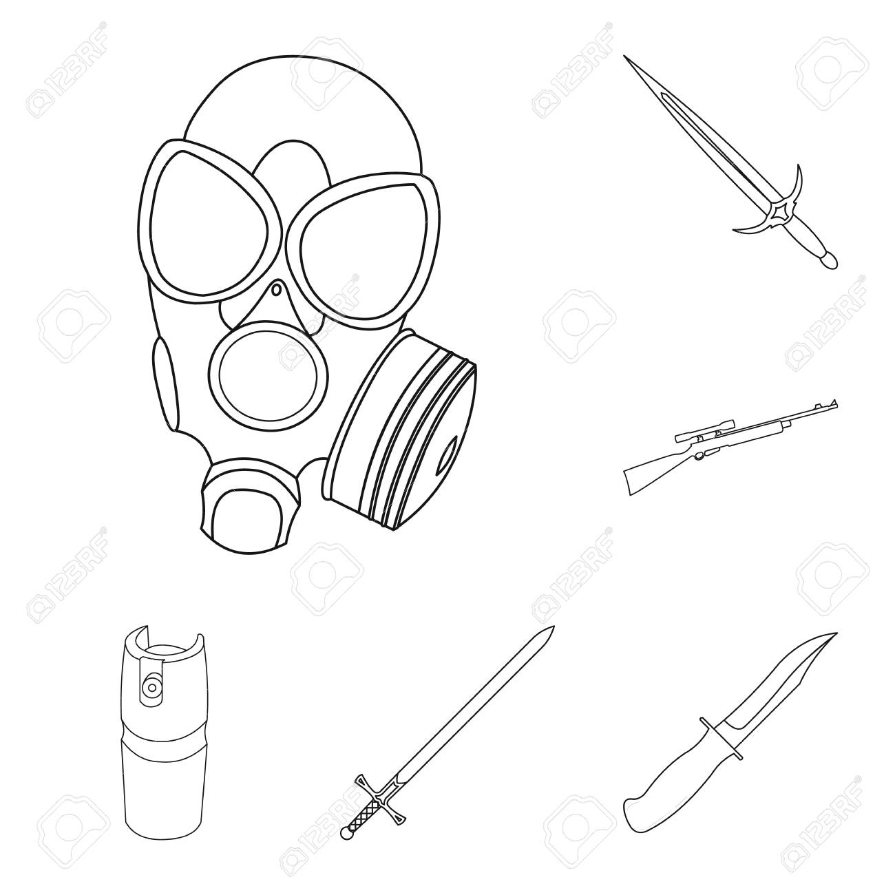 types of weapons outline icons in set collection for design firearms Examples of Gas illustration types of weapons outline icons in set collection for design firearms and bladed weapons bitmap symbol stock web illustration