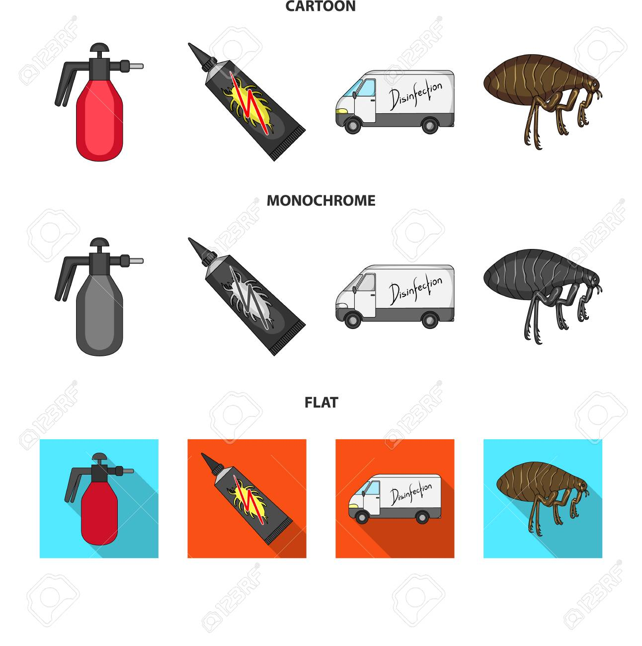Flea, special car and equipment cartoon,flat,monochrome icons in set collection for design. Pest Control Service vector symbol stock web illustration. - 106991436
