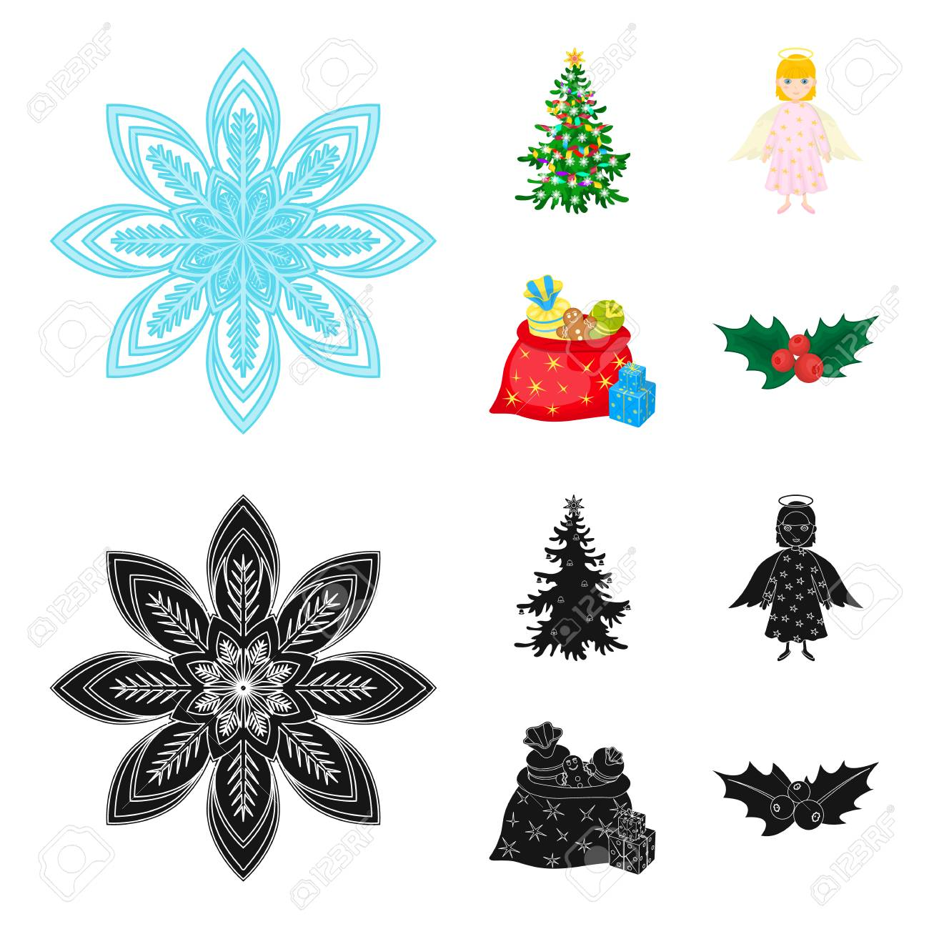 Christmas Tree Angel Gifts And Holly Cartoon Black Icons In