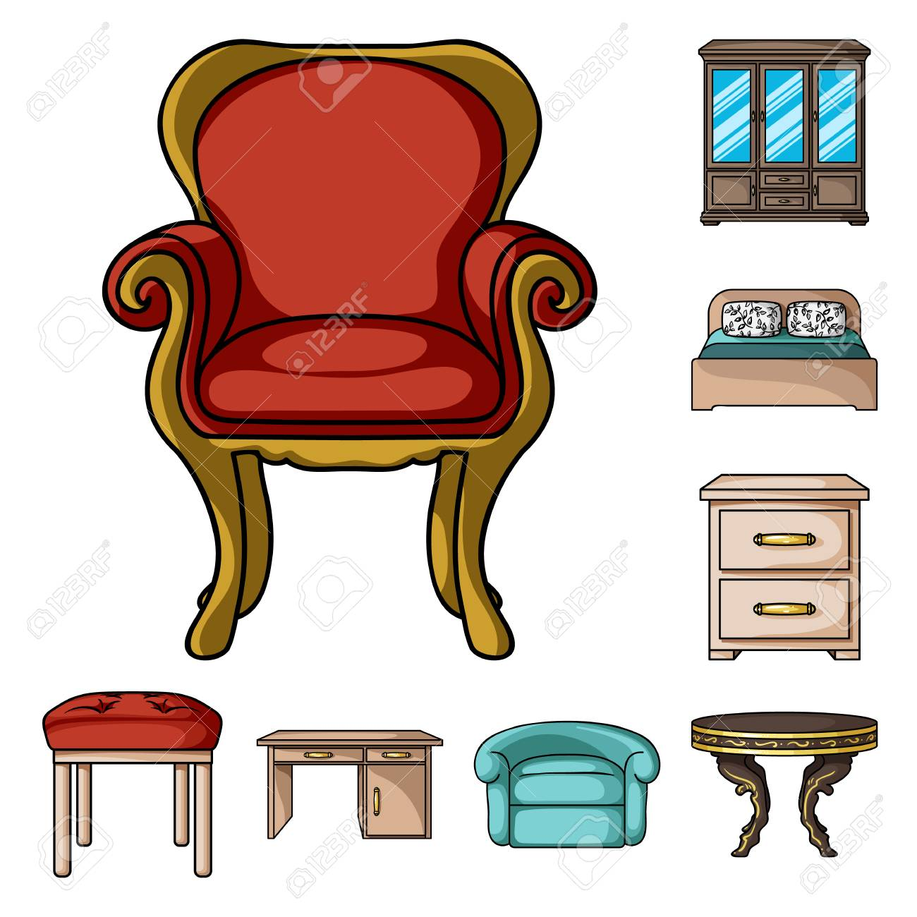 Furniture and interior cartoon icons in set collection for design.Home furniture vector symbol stock illustration. - 107337924