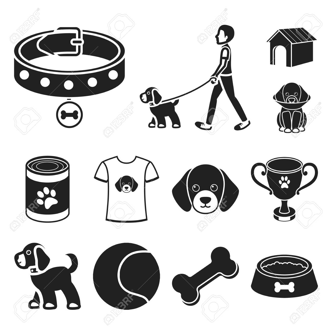 Pet dog black icons in set collection for design. Caring for the puppy vector symbol stock illustration. - 107339086