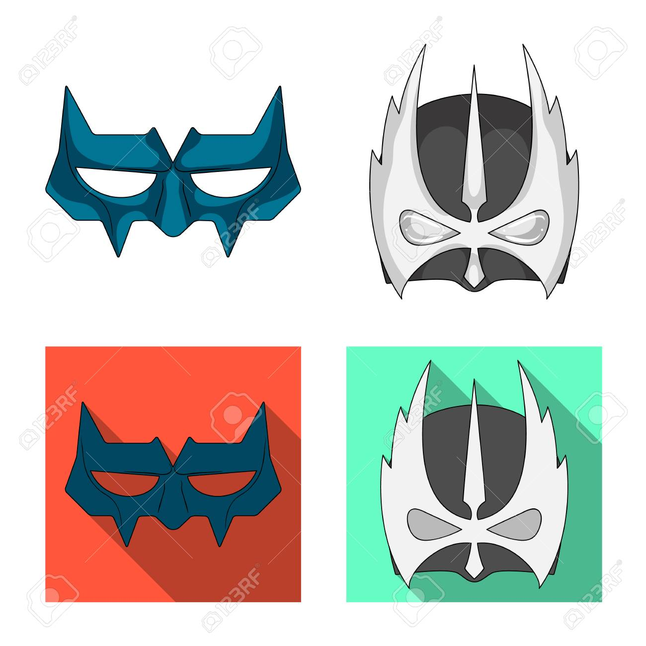 Vector Illustration Of Hero And Mask Logo Set Of Hero And Superhero