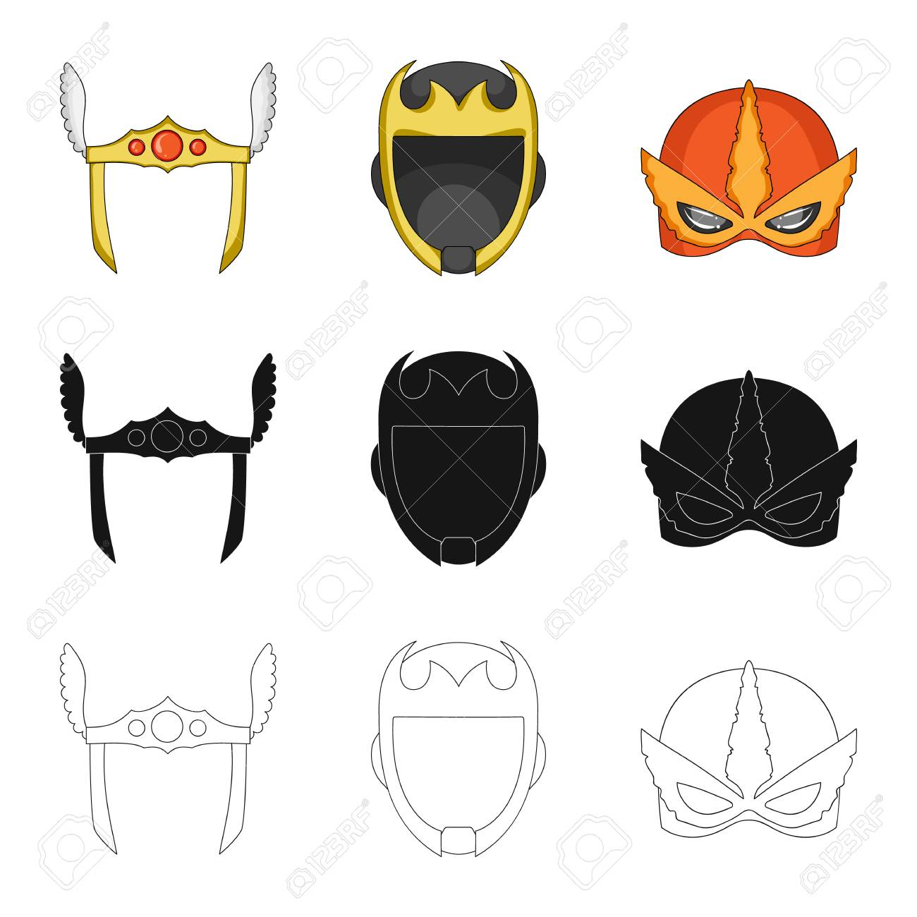 Vector Design Of Hero And Mask Logo Set Of Hero And Superhero
