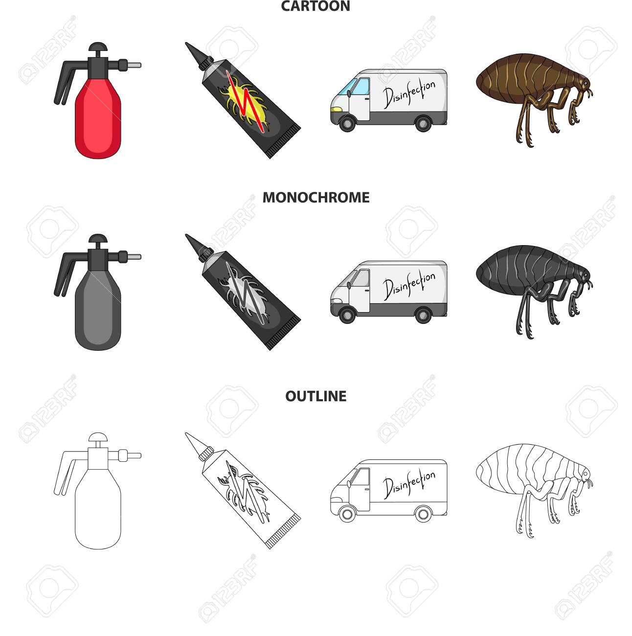 Flea, special car and equipment cartoon,outline,monochrome icons in set collection for design. Pest Control Service vector symbol stock web illustration. - 107406816