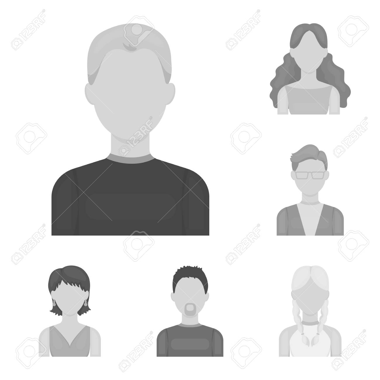 Avatar and face monochrome icons in set collection for design. A person s appearance vector symbol stock illustration. - 108476739