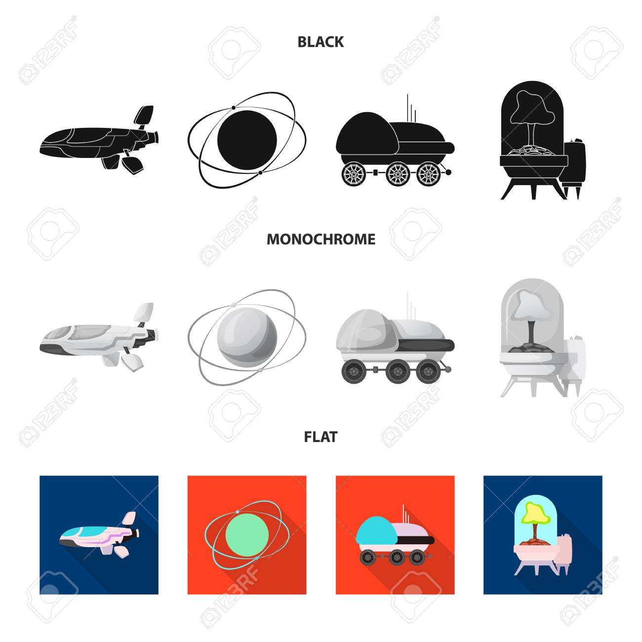 Vector Illustration Of Mars And Space Sign Set Of Mars And Planet